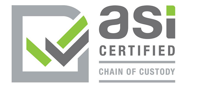 Logo that says asi certified - chain of custody